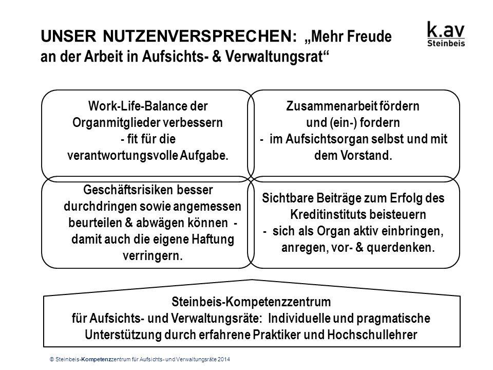 """© Steinbeis-Kompetenzzentrum für Aufsichts- und Verwaltungsräte 2014 UNSER NUTZENVERSPRECHEN: """"Mehr Freude an der Arbeit in Aufsichts- & Verwaltungsra"""