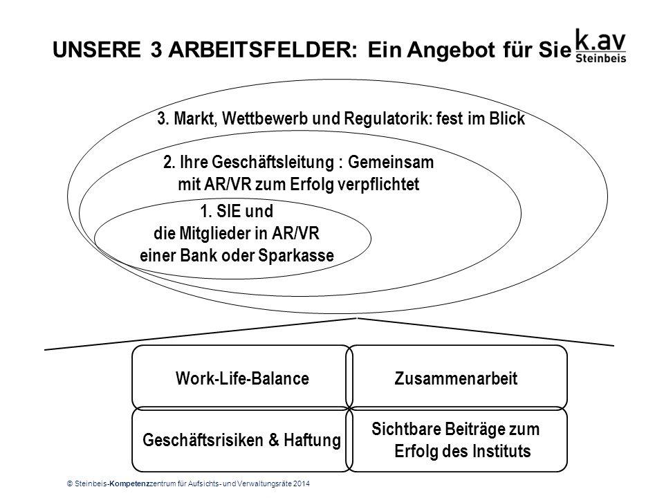 © Steinbeis-Kompetenzzentrum für Aufsichts- und Verwaltungsräte 2014 UNSERE 3 ARBEITSFELDER: Ein Angebot für Sie 1. SIE und die Mitglieder in AR/VR ei