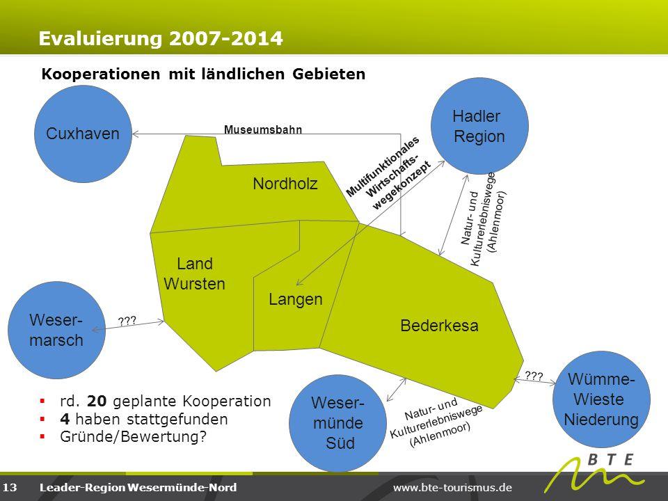 www.bte-tourismus.deLeader-Region Wesermünde-Nord Kooperationen mit ländlichen Gebieten Evaluierung 2007-2014 13 Land Wursten Nordholz Langen Bederkes