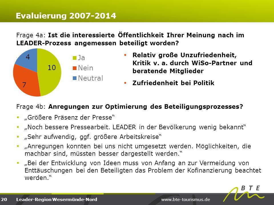www.bte-tourismus.deLeader-Region Wesermünde-Nord Frage 4a: Ist die interessierte Öffentlichkeit Ihrer Meinung nach im LEADER-Prozess angemessen betei