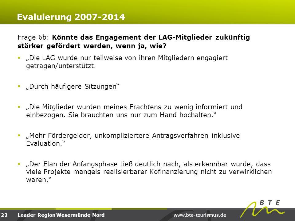 www.bte-tourismus.deLeader-Region Wesermünde-Nord Evaluierung 2007-2014 Frage 6b: Könnte das Engagement der LAG-Mitglieder zukünftig stärker gefördert