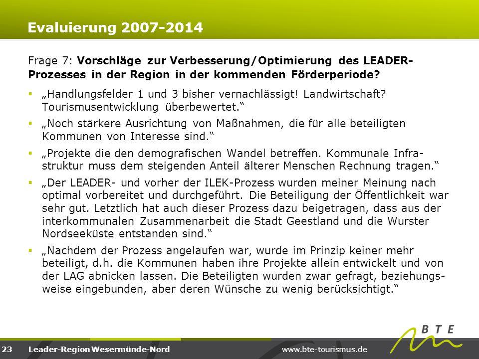 www.bte-tourismus.deLeader-Region Wesermünde-Nord Evaluierung 2007-2014 Frage 7: Vorschläge zur Verbesserung/Optimierung des LEADER- Prozesses in der