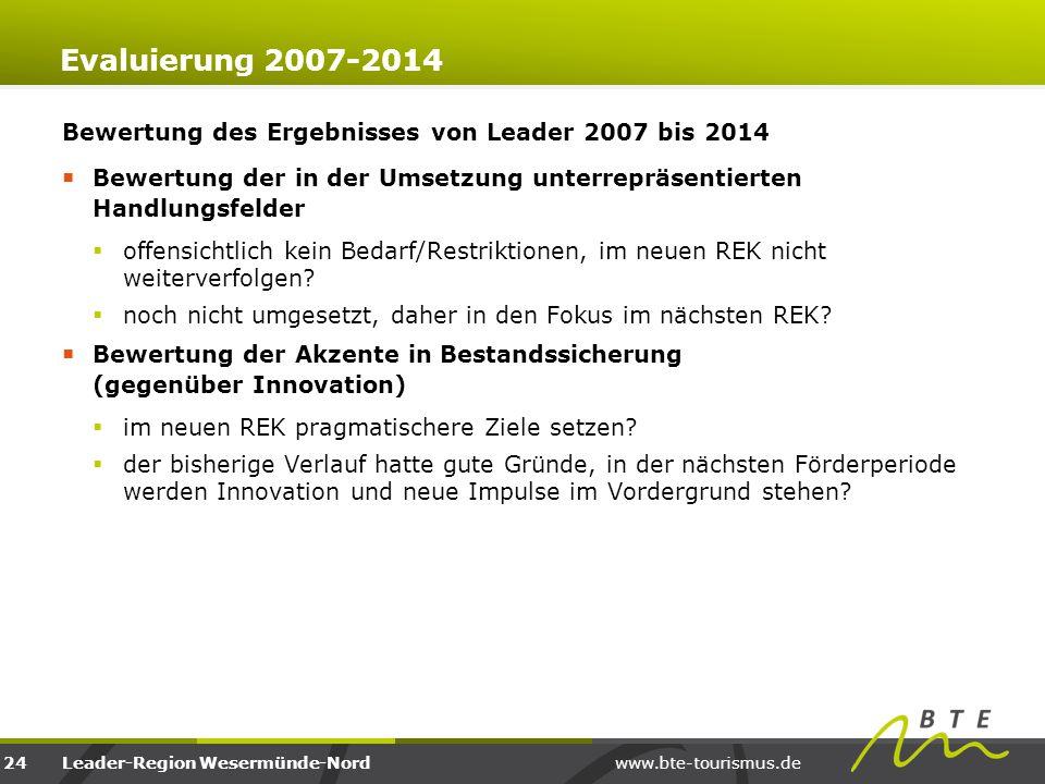 www.bte-tourismus.deLeader-Region Wesermünde-Nord Evaluierung 2007-2014 Bewertung des Ergebnisses von Leader 2007 bis 2014  Bewertung der in der Umse