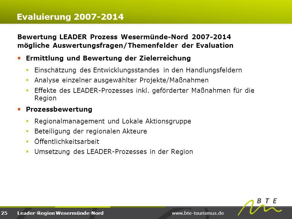 www.bte-tourismus.deLeader-Region Wesermünde-Nord Evaluierung 2007-2014 Bewertung LEADER Prozess Wesermünde-Nord 2007-2014 mögliche Auswertungsfragen/