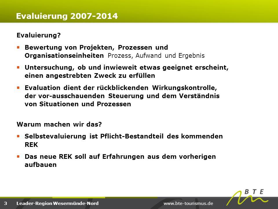 www.bte-tourismus.deLeader-Region Wesermünde-Nord Evaluierung 2007-2014 Bewertung des Ergebnisses von Leader 2007 bis 2014  Bewertung der in der Umsetzung unterrepräsentierten Handlungsfelder  offensichtlich kein Bedarf/Restriktionen, im neuen REK nicht weiterverfolgen.