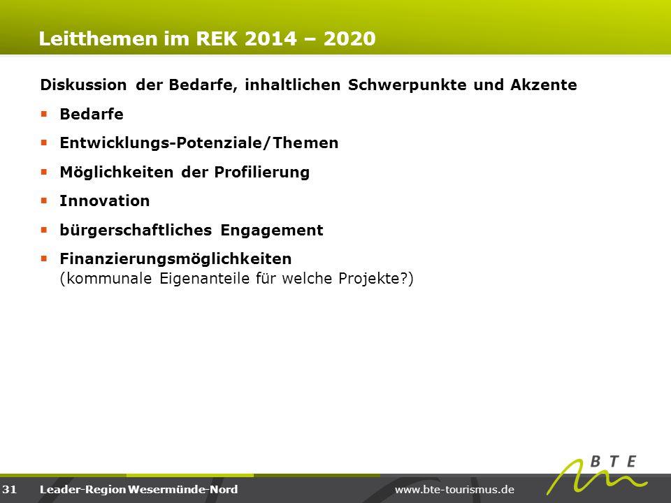 www.bte-tourismus.deLeader-Region Wesermünde-Nord Leitthemen im REK 2014 – 2020 Diskussion der Bedarfe, inhaltlichen Schwerpunkte und Akzente  Bedarf