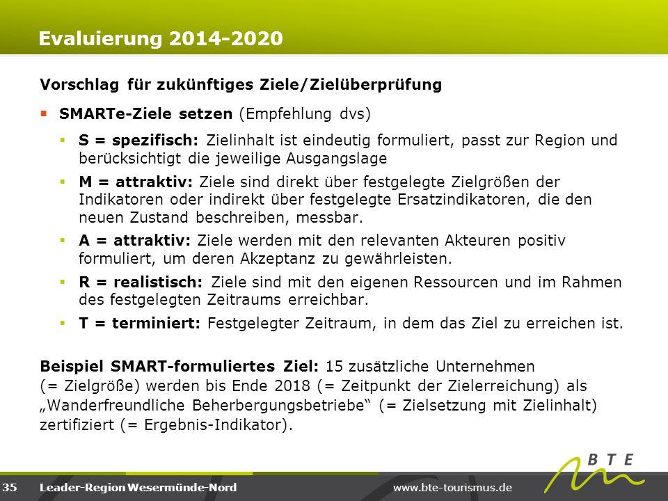 www.bte-tourismus.deLeader-Region Wesermünde-Nord Evaluierung 2014-2020 Vorschlag für zukünftiges Ziele/Zielüberprüfung  SMARTe-Ziele setzen (Empfehl