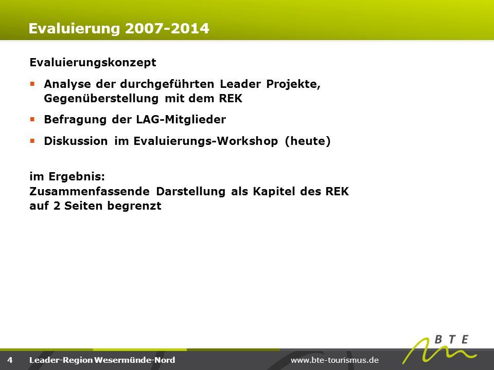 www.bte-tourismus.deLeader-Region Wesermünde-Nord Evaluierung 2007-2014 Evaluierungskonzept  Analyse der durchgeführten Leader Projekte, Gegenüberste