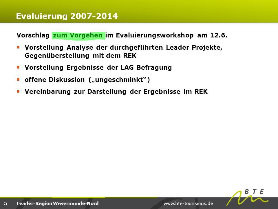 www.bte-tourismus.deLeader-Region Wesermünde-Nord Evaluierung 2007-2014 Konsequenzen für kommende LAG/ReM  Sollten Organisations- oder Arbeitsstrukturen zukünftig verändert werden.