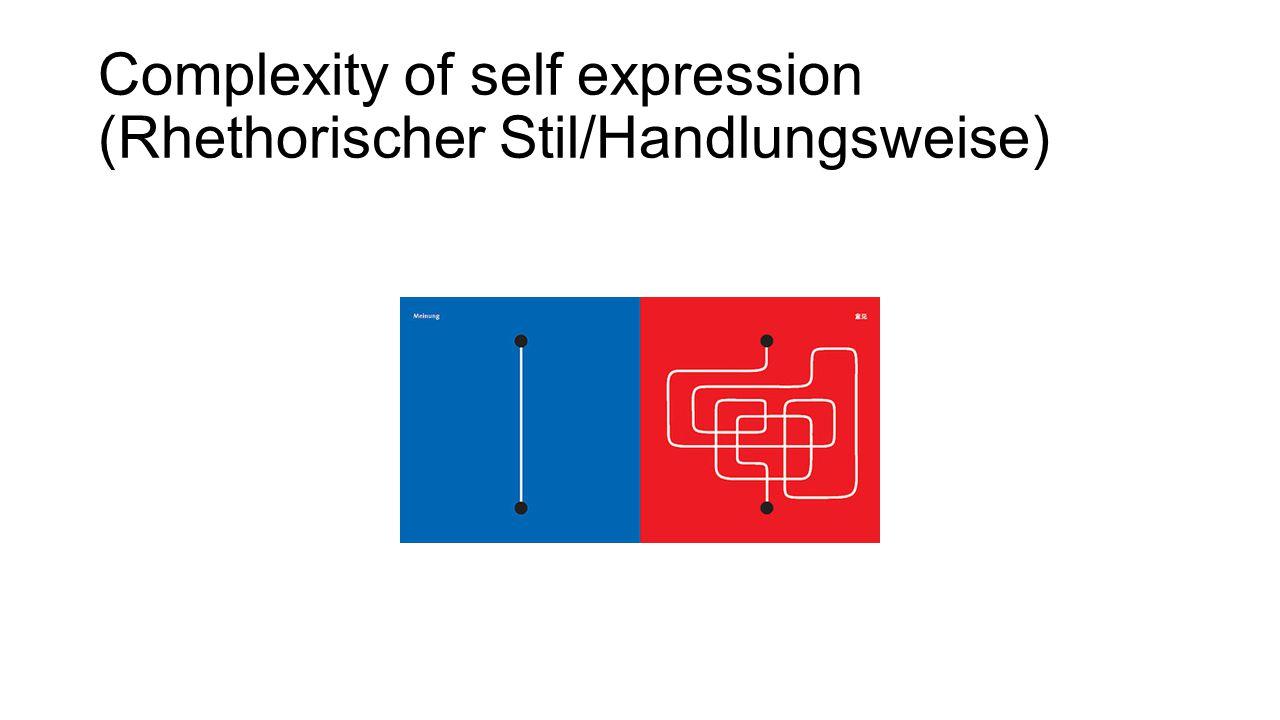 Complexity of self expression (Rhethorischer Stil/Handlungsweise)