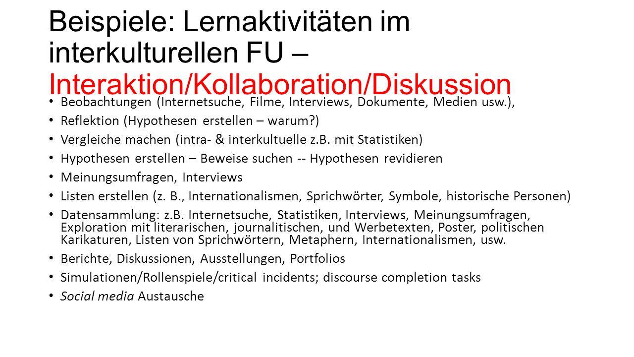 Beispiele: Lernaktivitäten im interkulturellen FU – Interaktion/Kollaboration/Diskussion Beobachtungen (Internetsuche, Filme, Interviews, Dokumente, M