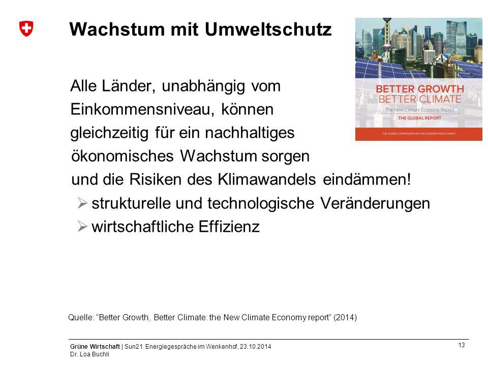 13 Grüne Wirtschaft | Sun21 Energiegespräche im Wenkenhof, 23.10.2014 Dr. Loa Buchli Wachstum mit Umweltschutz Alle Länder, unabhängig vom Einkommensn