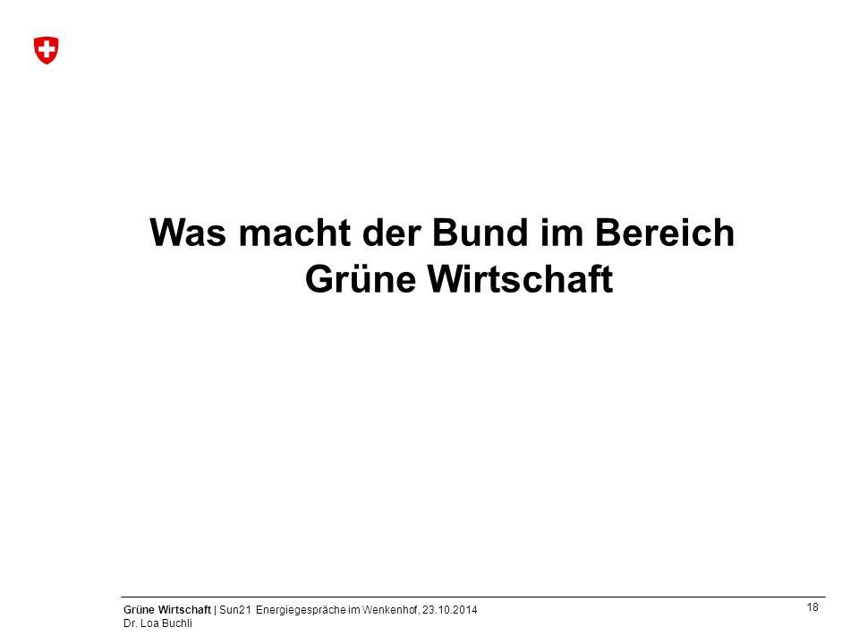 18 Grüne Wirtschaft | Sun21 Energiegespräche im Wenkenhof, 23.10.2014 Dr. Loa Buchli Was macht der Bund im Bereich Grüne Wirtschaft