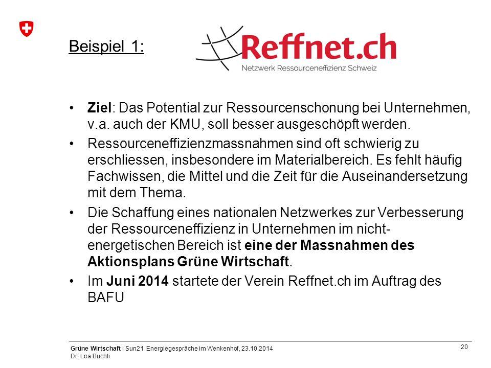20 Grüne Wirtschaft | Sun21 Energiegespräche im Wenkenhof, 23.10.2014 Dr. Loa Buchli Ziel: Das Potential zur Ressourcenschonung bei Unternehmen, v.a.