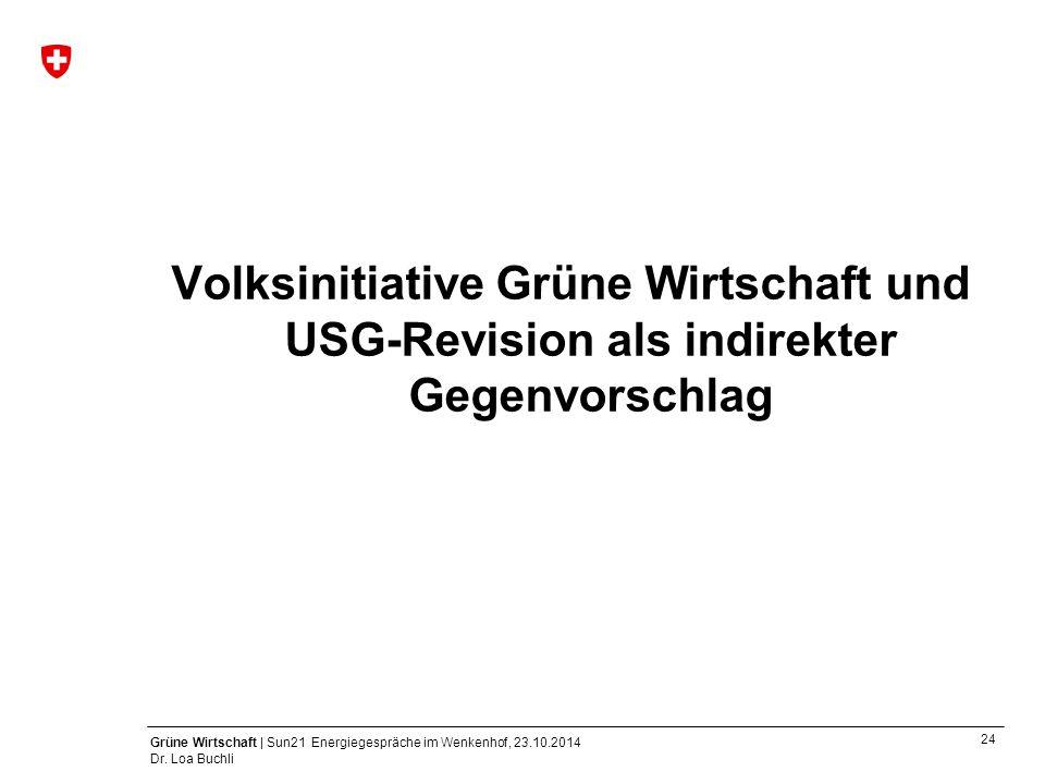 24 Grüne Wirtschaft | Sun21 Energiegespräche im Wenkenhof, 23.10.2014 Dr. Loa Buchli Volksinitiative Grüne Wirtschaft und USG-Revision als indirekter