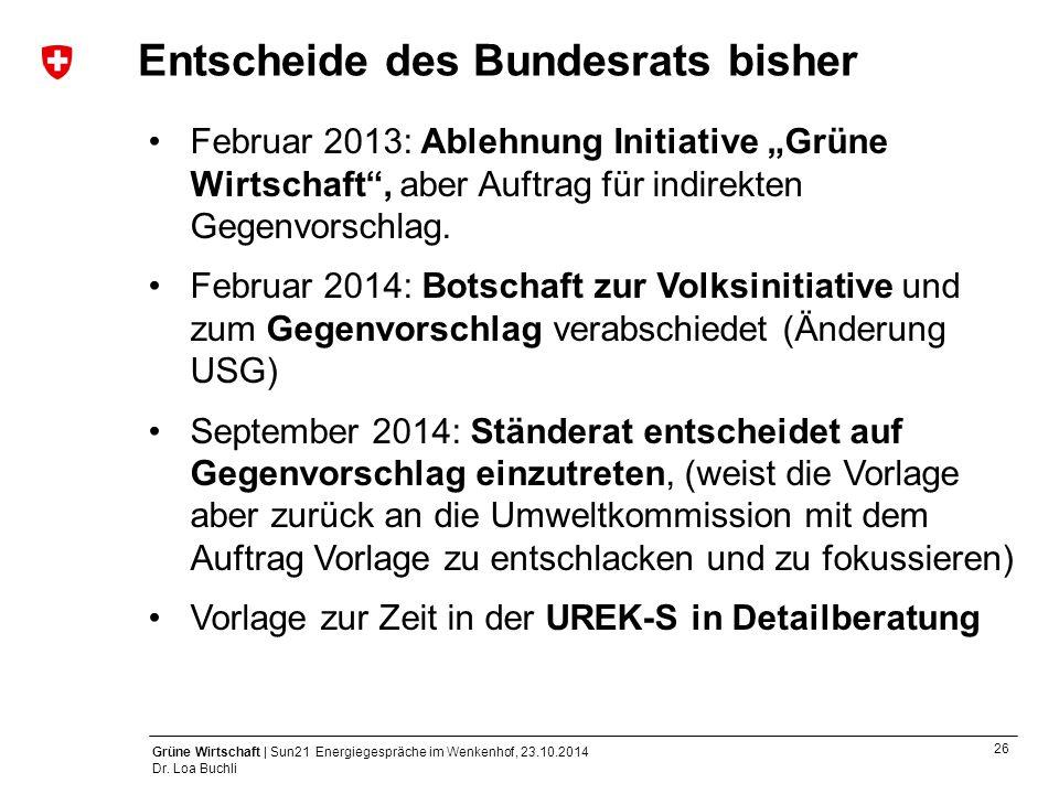 26 Grüne Wirtschaft | Sun21 Energiegespräche im Wenkenhof, 23.10.2014 Dr. Loa Buchli Entscheide des Bundesrats bisher Februar 2013: Ablehnung Initiati