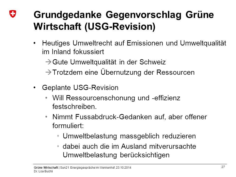27 Grüne Wirtschaft | Sun21 Energiegespräche im Wenkenhof, 23.10.2014 Dr. Loa Buchli Grundgedanke Gegenvorschlag Grüne Wirtschaft (USG-Revision) Heuti