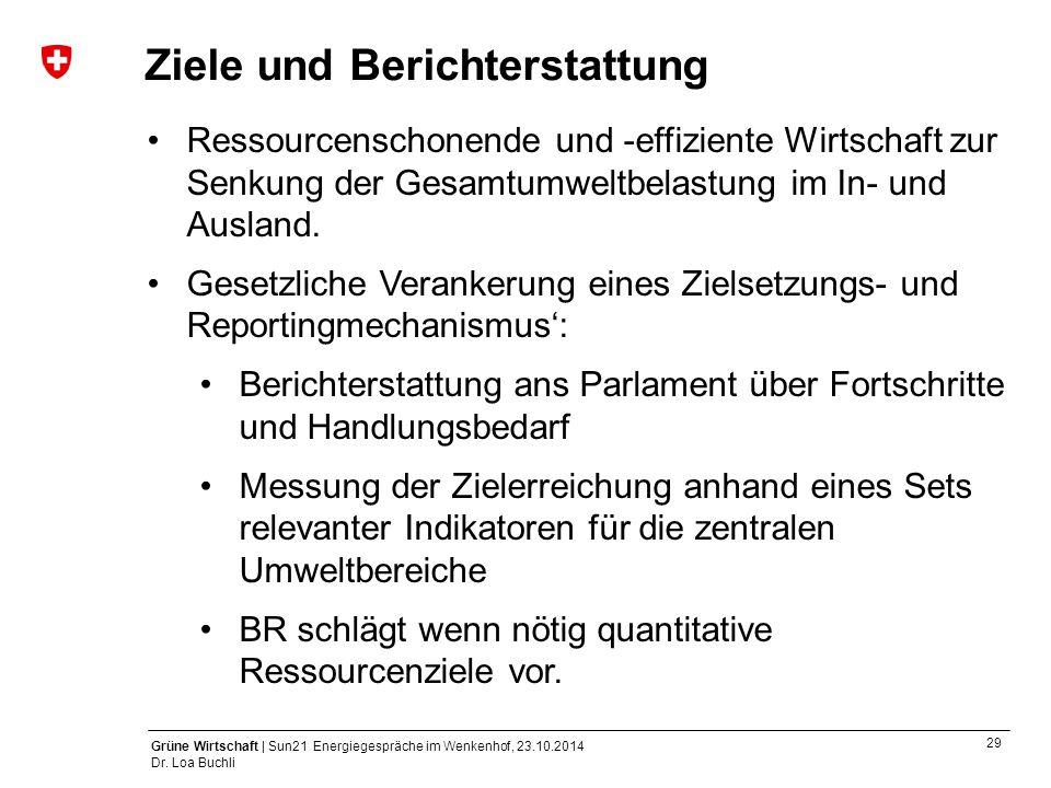 29 Grüne Wirtschaft | Sun21 Energiegespräche im Wenkenhof, 23.10.2014 Dr. Loa Buchli Ziele und Berichterstattung Ressourcenschonende und -effiziente W