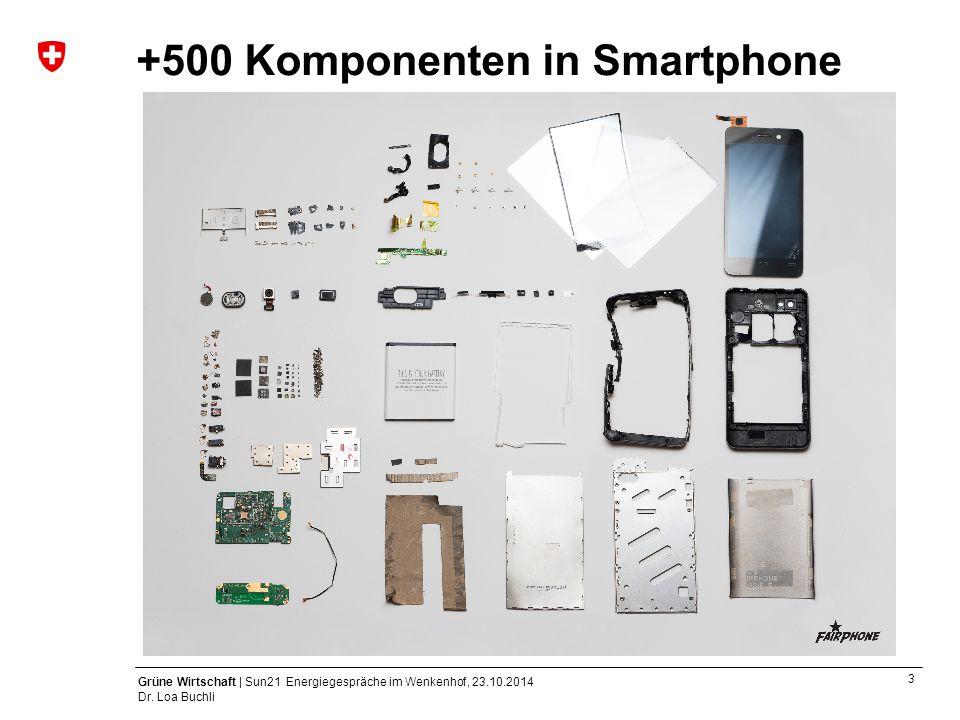 3 Grüne Wirtschaft | Sun21 Energiegespräche im Wenkenhof, 23.10.2014 Dr. Loa Buchli +500 Komponenten in Smartphone
