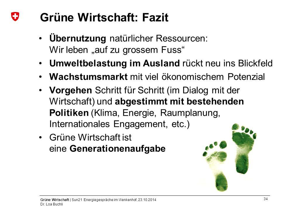 34 Grüne Wirtschaft | Sun21 Energiegespräche im Wenkenhof, 23.10.2014 Dr. Loa Buchli Grüne Wirtschaft: Fazit Übernutzung natürlicher Ressourcen: Wir l