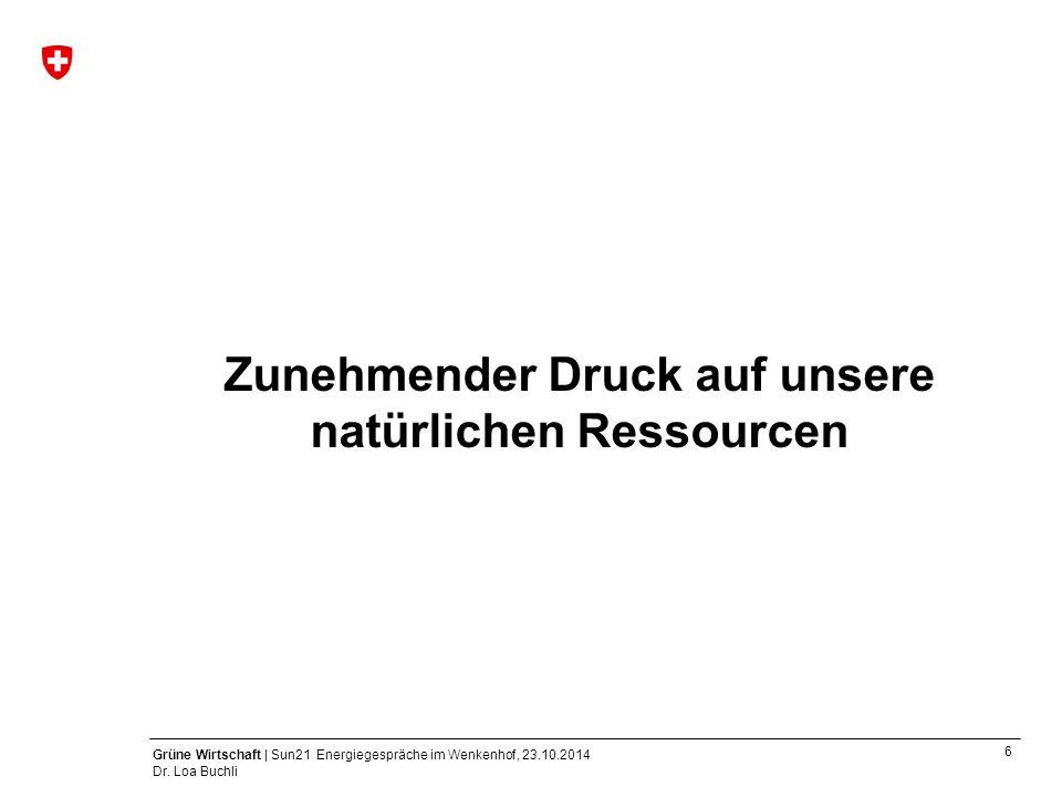 6 Grüne Wirtschaft | Sun21 Energiegespräche im Wenkenhof, 23.10.2014 Dr. Loa Buchli Zunehmender Druck auf unsere natürlichen Ressourcen