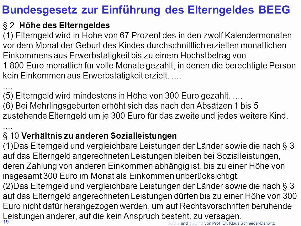 SGB 2 SGB 2 und SGB 12 von Prof. Dr. Klaus Schneider-DanwitzSGB 12 19 Bundesgesetz zur Einführung des Elterngeldes BEEG § 2 Höhe des Elterngeldes (1)