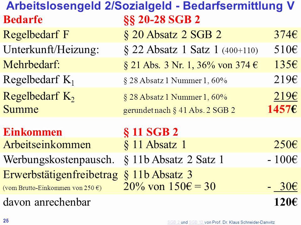 SGB 2 SGB 2 und SGB 12 von Prof. Dr. Klaus Schneider-DanwitzSGB 12 25 Bedarfe§§ 20-28 SGB 2 Regelbedarf F§ 20 Absatz 2 SGB 2374€ Unterkunft/Heizung:§