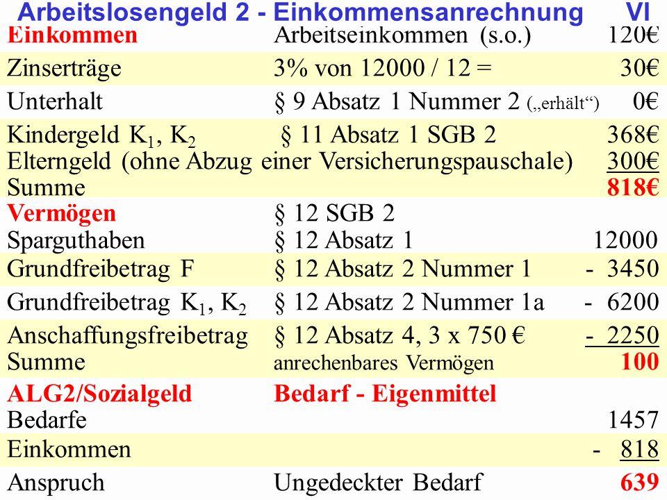 SGB 2 SGB 2 und SGB 12 von Prof. Dr. Klaus Schneider-DanwitzSGB 12 26 EinkommenArbeitseinkommen (s.o.)120€ Zinserträge3% von 12000 / 12 = 30€ Unterhal