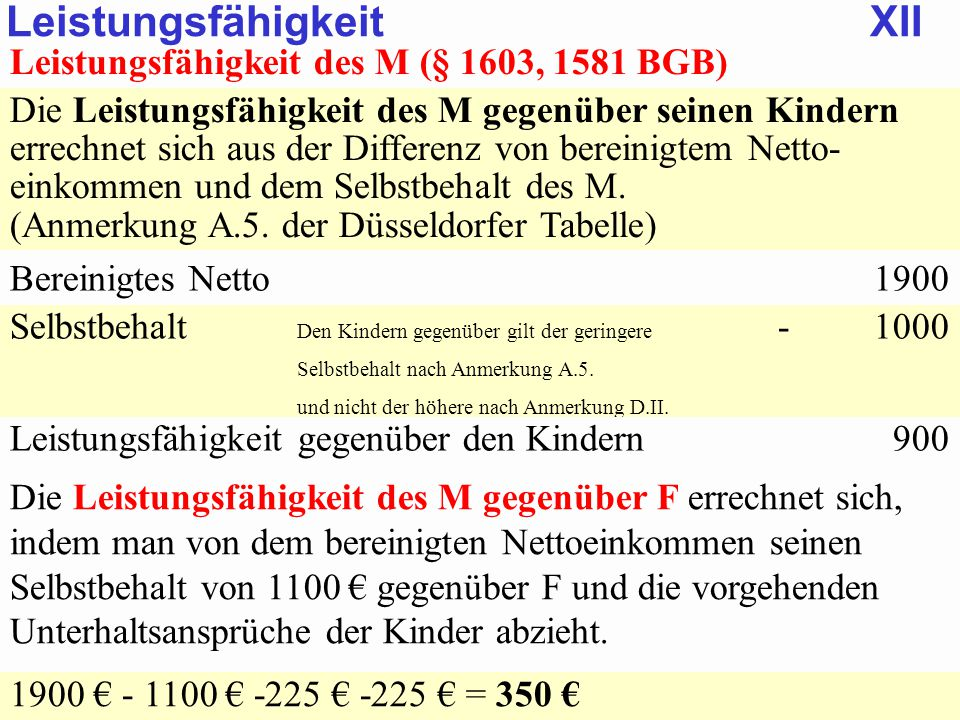 SGB 2 SGB 2 und SGB 12 von Prof. Dr. Klaus Schneider-DanwitzSGB 12 32 Leistungsfähigkeit des M (§ 1603, 1581 BGB) Die Leistungsfähigkeit des M gegenüb