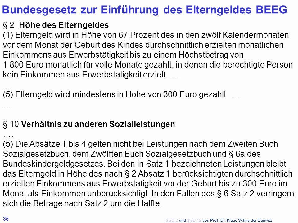 SGB 2 SGB 2 und SGB 12 von Prof. Dr. Klaus Schneider-DanwitzSGB 12 35 Bundesgesetz zur Einführung des Elterngeldes BEEG § 2 Höhe des Elterngeldes (1)
