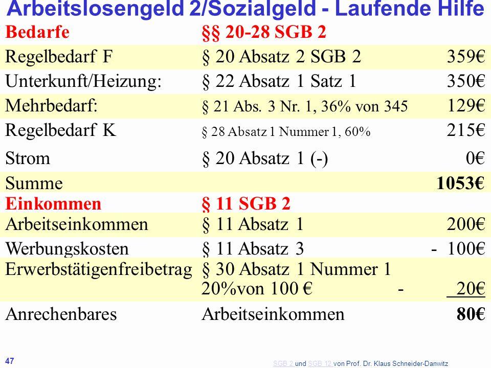 SGB 2 SGB 2 und SGB 12 von Prof. Dr. Klaus Schneider-DanwitzSGB 12 47 Bedarfe§§ 20-28 SGB 2 Regelbedarf F§ 20 Absatz 2 SGB 2359€ Unterkunft/Heizung:§