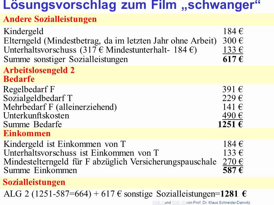 SGB 2 SGB 2 und SGB 12 von Prof. Dr. Klaus Schneider-DanwitzSGB 12 50 Andere Sozialleistungen Kindergeld184 € Elterngeld (Mindestbetrag, da im letzten