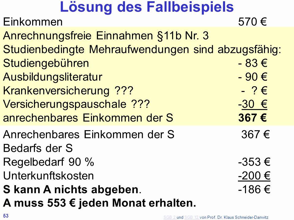 SGB 2 SGB 2 und SGB 12 von Prof. Dr. Klaus Schneider-DanwitzSGB 12 53 Einkommen570 € Anrechnungsfreie Einnahmen §11b Nr. 3 Studienbedingte Mehraufwend