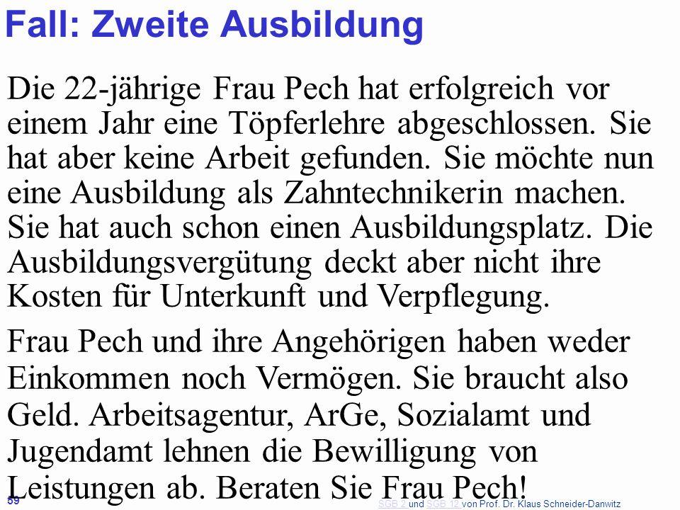 SGB 2 SGB 2 und SGB 12 von Prof. Dr. Klaus Schneider-DanwitzSGB 12 59 Die 22-jährige Frau Pech hat erfolgreich vor einem Jahr eine Töpferlehre abgesch