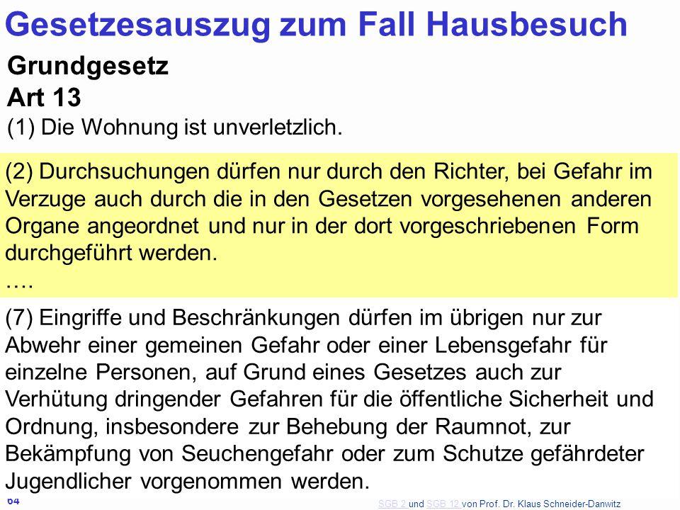SGB 2 SGB 2 und SGB 12 von Prof. Dr. Klaus Schneider-DanwitzSGB 12 64 Grundgesetz Art 13 (1) Die Wohnung ist unverletzlich.. (2) Durchsuchungen dürfen