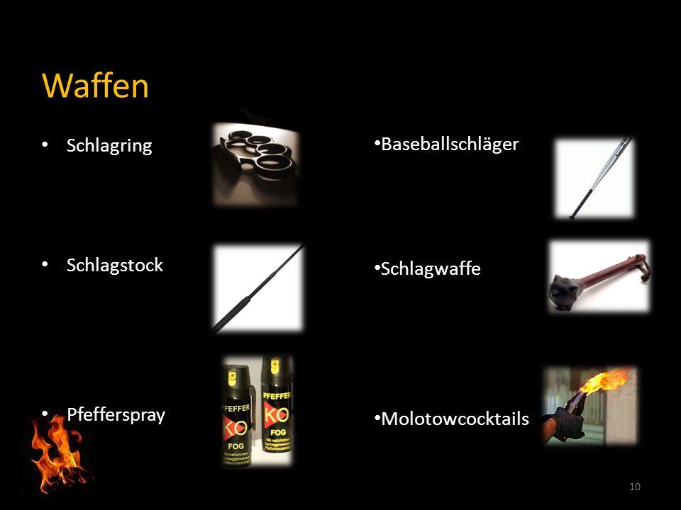 Waffen Schlagring Schlagstock Pfefferspray 10 Baseballschläger Schlagwaffe Molotowcocktails