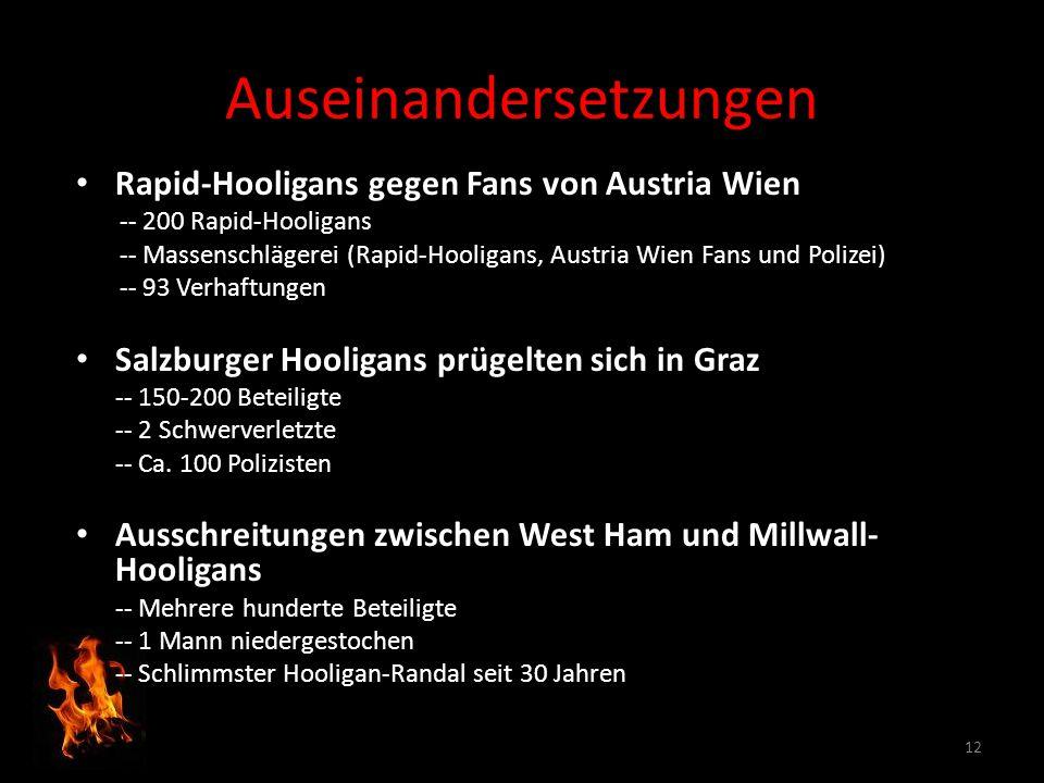 Rapid-Hooligans gegen Fans von Austria Wien -- 200 Rapid-Hooligans -- Massenschlägerei (Rapid-Hooligans, Austria Wien Fans und Polizei) -- 93 Verhaftu