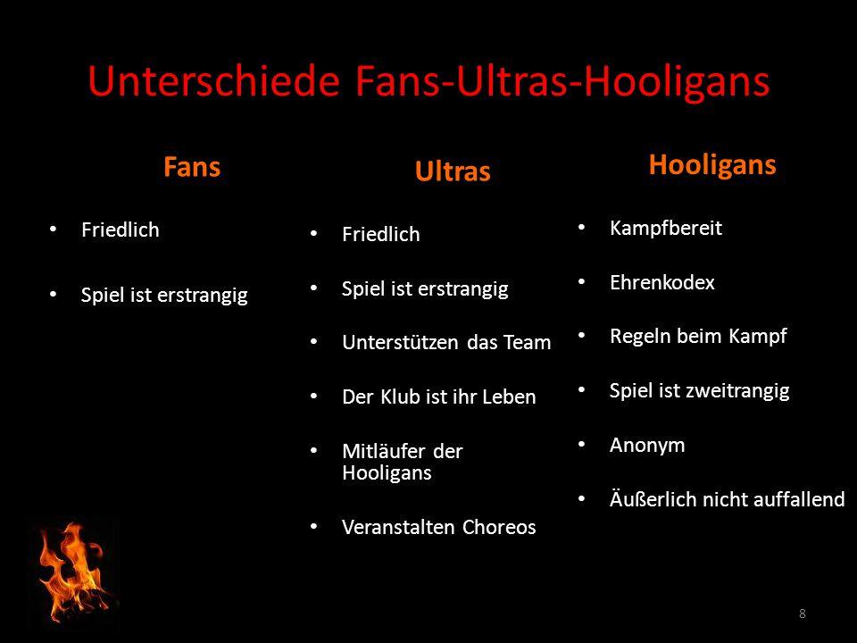 Unterschiede Fans-Ultras-Hooligans Hooligans Kampfbereit Ehrenkodex Regeln beim Kampf Spiel ist zweitrangig Anonym Äußerlich nicht auffallend Ultras F