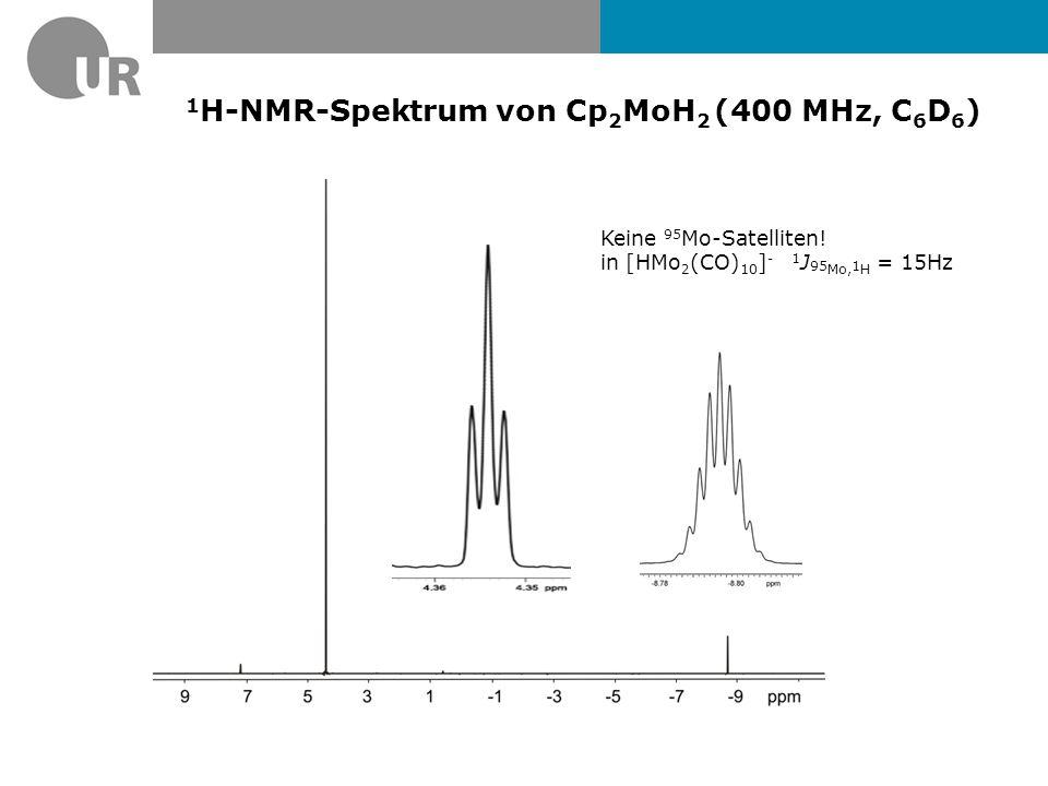 1 H-NMR-Spektrum von Cp 2 MoH 2 (400 MHz, C 6 D 6 ) Keine 95 Mo-Satelliten.
