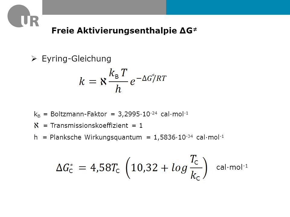 Freie Aktivierungsenthalpie ΔG ≠  Eyring-Gleichung B ≠ k B = Boltzmann-Faktor = 3,2995·10 -24 cal·mol -1 = Transmissionskoeffizient = 1 h = Planksche Wirkungsquantum = 1,5836·10 -34 cal·mol -1 CC C C ≠ cal·mol -1