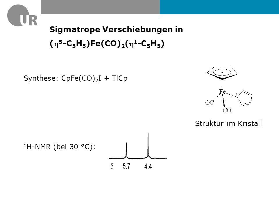 Sigmatrope Verschiebungen in ( 5 -C 5 H 5 )Fe(CO) 2 ( 1 -C 5 H 5 ) Synthese: CpFe(CO) 2 I + TlCp 1 H-NMR (bei 30 °C): Struktur im Kristall ·