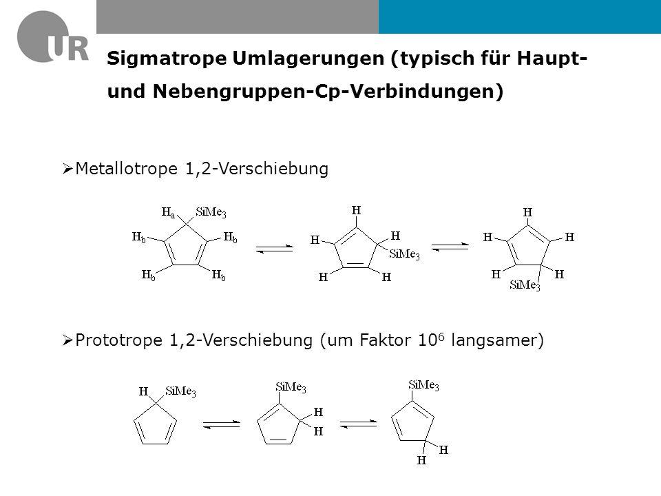 Sigmatrope Umlagerungen (typisch für Haupt- und Nebengruppen-Cp-Verbindungen)  Metallotrope 1,2-Verschiebung  Prototrope 1,2-Verschiebung (um Faktor 10 6 langsamer)