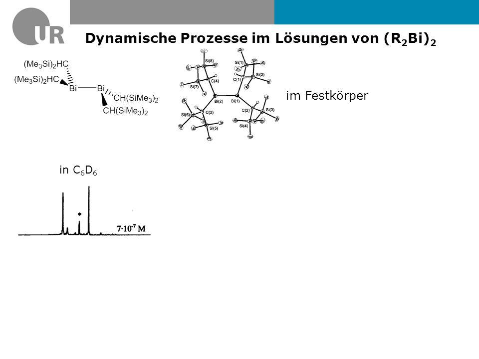 Dynamische Prozesse im Lösungen von (R 2 Bi) 2 im Festkörper C 6 D 5 CD 3, c = 3.3·10 -4 M C 6 D 5 CD 3, c = 8.35·10 -6 M in C 6 D 6
