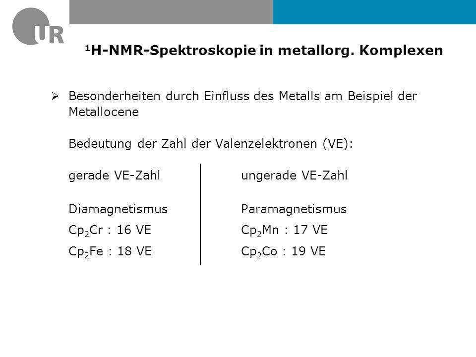 1 H-NMR-Spektrum von Cp 2 WH 2 (400 MHz, CDCl 3 ) 1 J WH =73,4 Hz 3 J HH =0,76 Hz