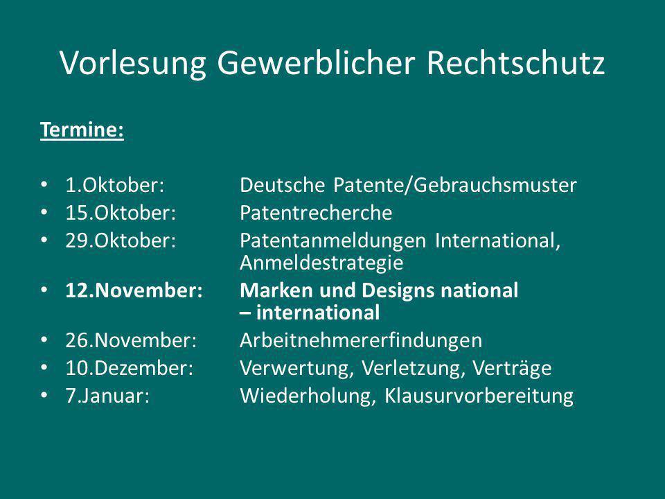 Literatur Gesetze: http://www.gesetze-im-internet.de Markengesetz, Designgesetz