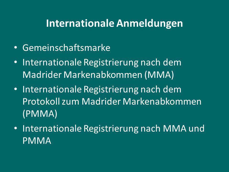 Internationale Anmeldungen Gemeinschaftsmarke Internationale Registrierung nach dem Madrider Markenabkommen (MMA) Internationale Registrierung nach dem Protokoll zum Madrider Markenabkommen (PMMA) Internationale Registrierung nach MMA und PMMA