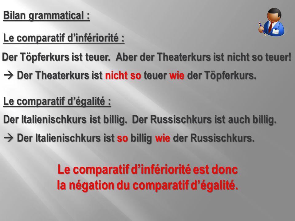 Bilan grammatical : Le comparatif d'infériorité :  Der Theaterkurs ist nicht so teuer wie der Töpferkurs. Aber der Theaterkurs ist nicht so teuer! De
