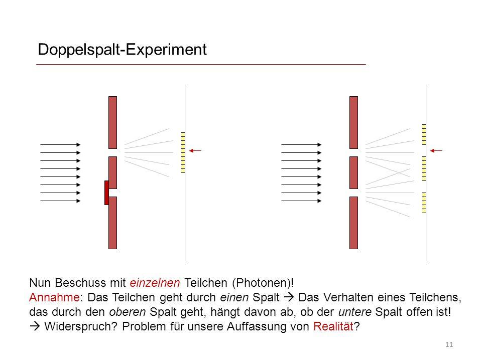 Doppelspalt-Experiment Nun Beschuss mit einzelnen Teilchen (Photonen)! Annahme: Das Teilchen geht durch einen Spalt  Das Verhalten eines Teilchens, d
