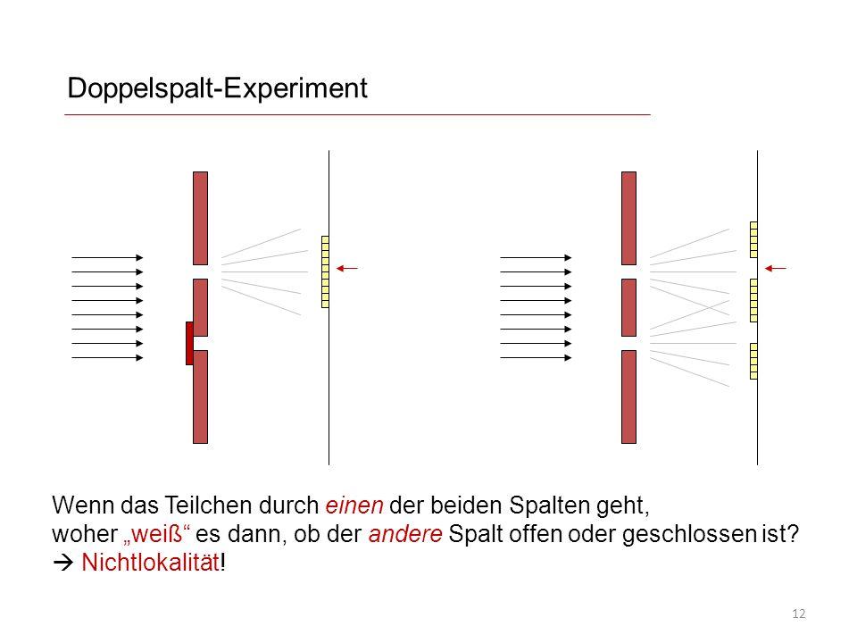 """Doppelspalt-Experiment Wenn das Teilchen durch einen der beiden Spalten geht, woher """"weiß"""" es dann, ob der andere Spalt offen oder geschlossen ist? """