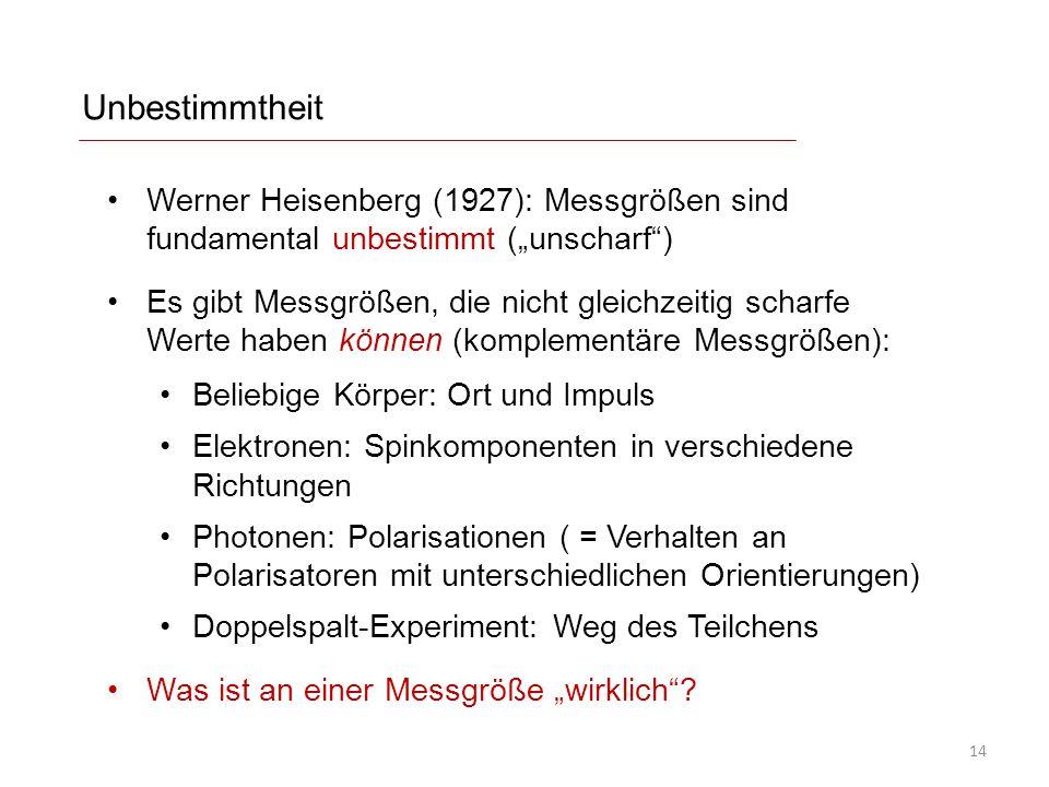 """Unbestimmtheit Werner Heisenberg (1927): Messgrößen sind fundamental unbestimmt (""""unscharf"""") Es gibt Messgrößen, die nicht gleichzeitig scharfe Werte"""